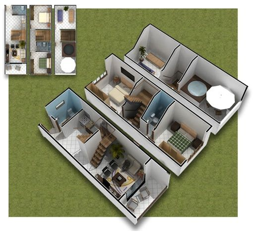 Good 3 Story House Plans. 3D Plans Of Small House In 35m2
