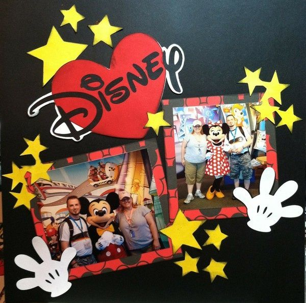 disney scrapbook layouts | Disney scrapbook layout, stars and heart | Scrapbook disney LO's