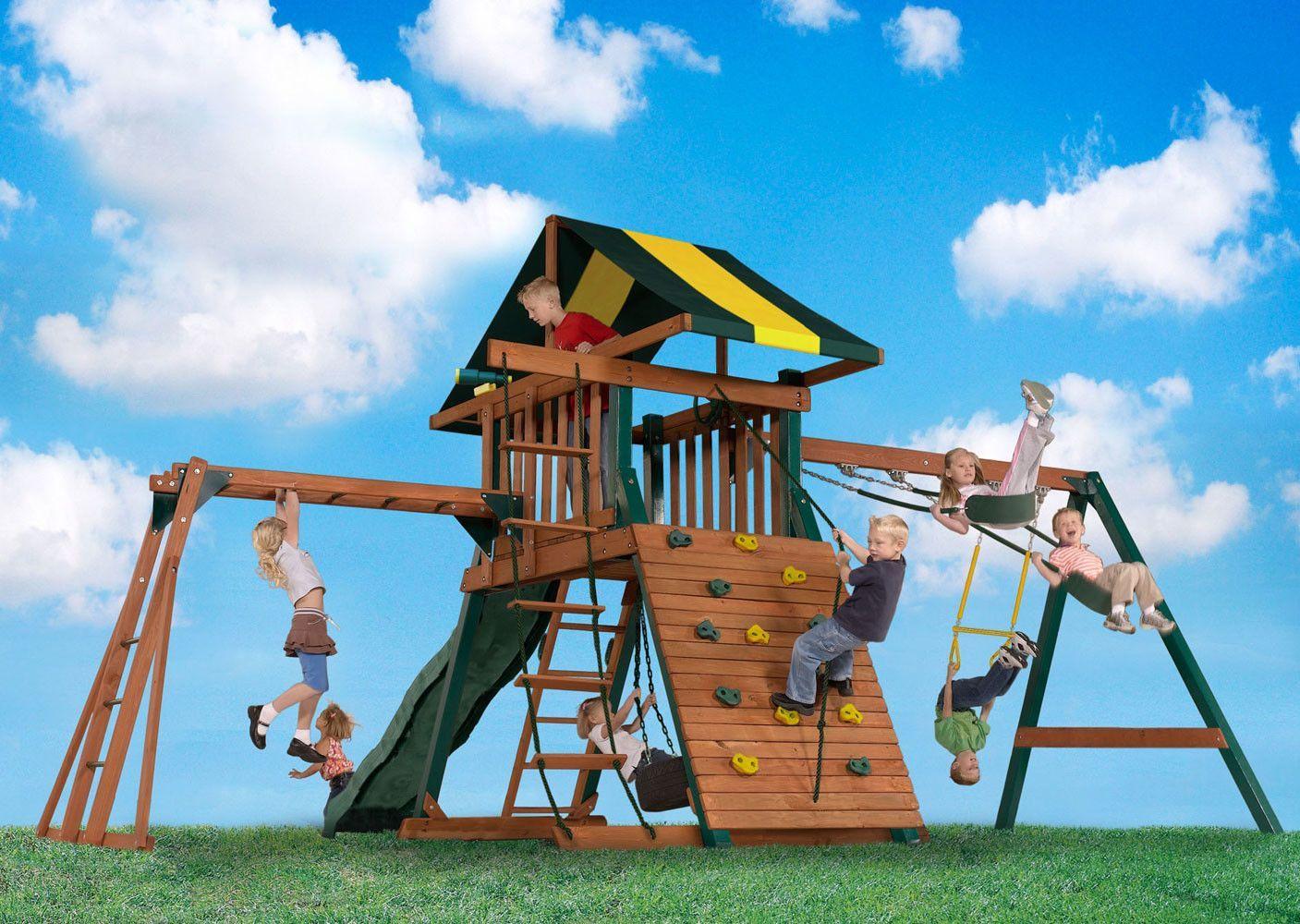 Castle Rock Swing Set | Backyard swing sets, Backyard ...