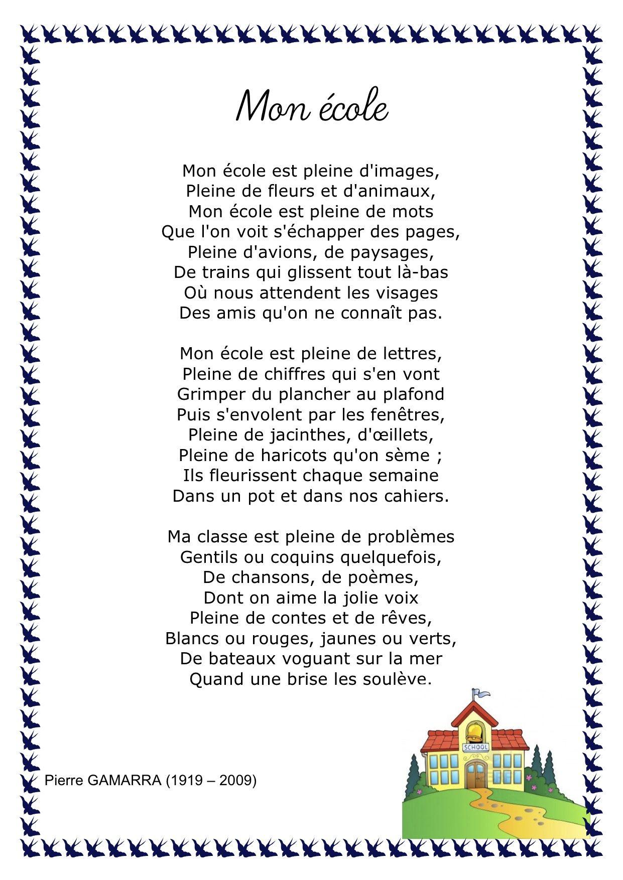 6 Poemes Avec Le Theme De L Ecole Http Ecolevalmo Free Fr