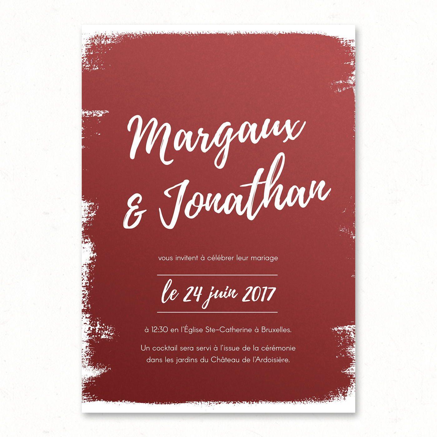 Faire Part Mariage Moderne Original Chic Bordeaux Paper And Love