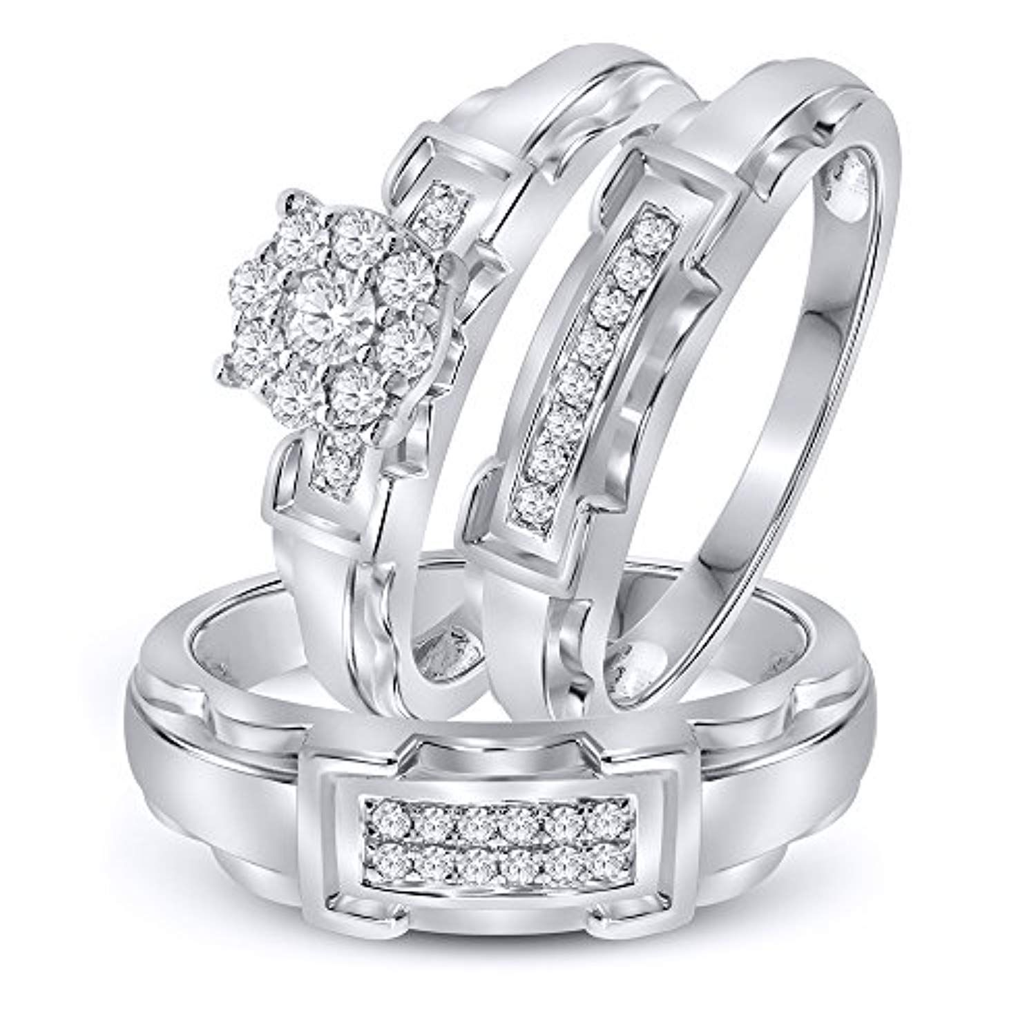 3/8 cttw Simulated Diamond Sterling Silver Wedding Ring