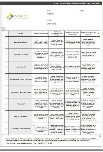 grille  u00e9valuation post entretien recrutement