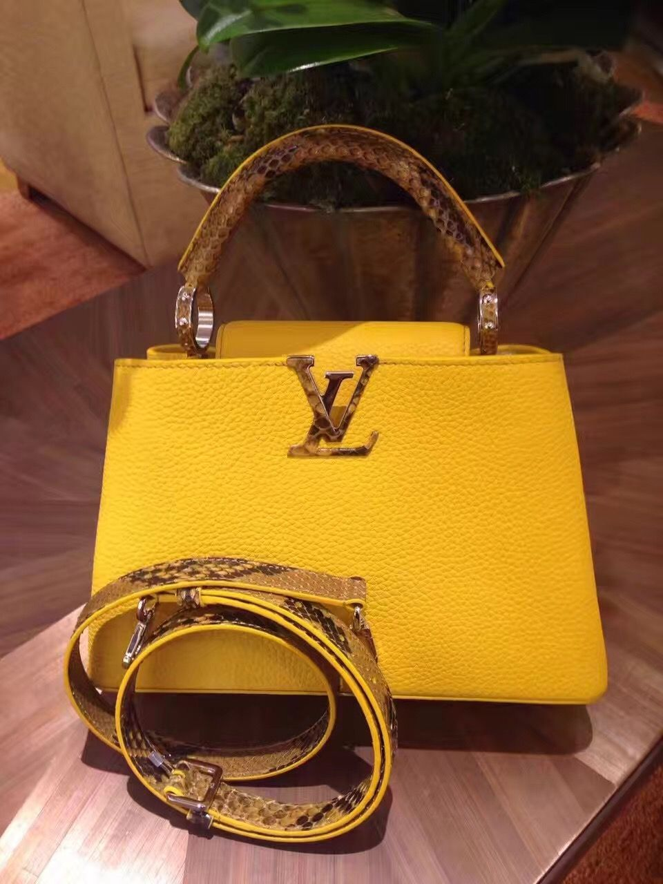 Louis Vuitton Python handle capucines bb bag yellow #louis #vuitton  #capucines