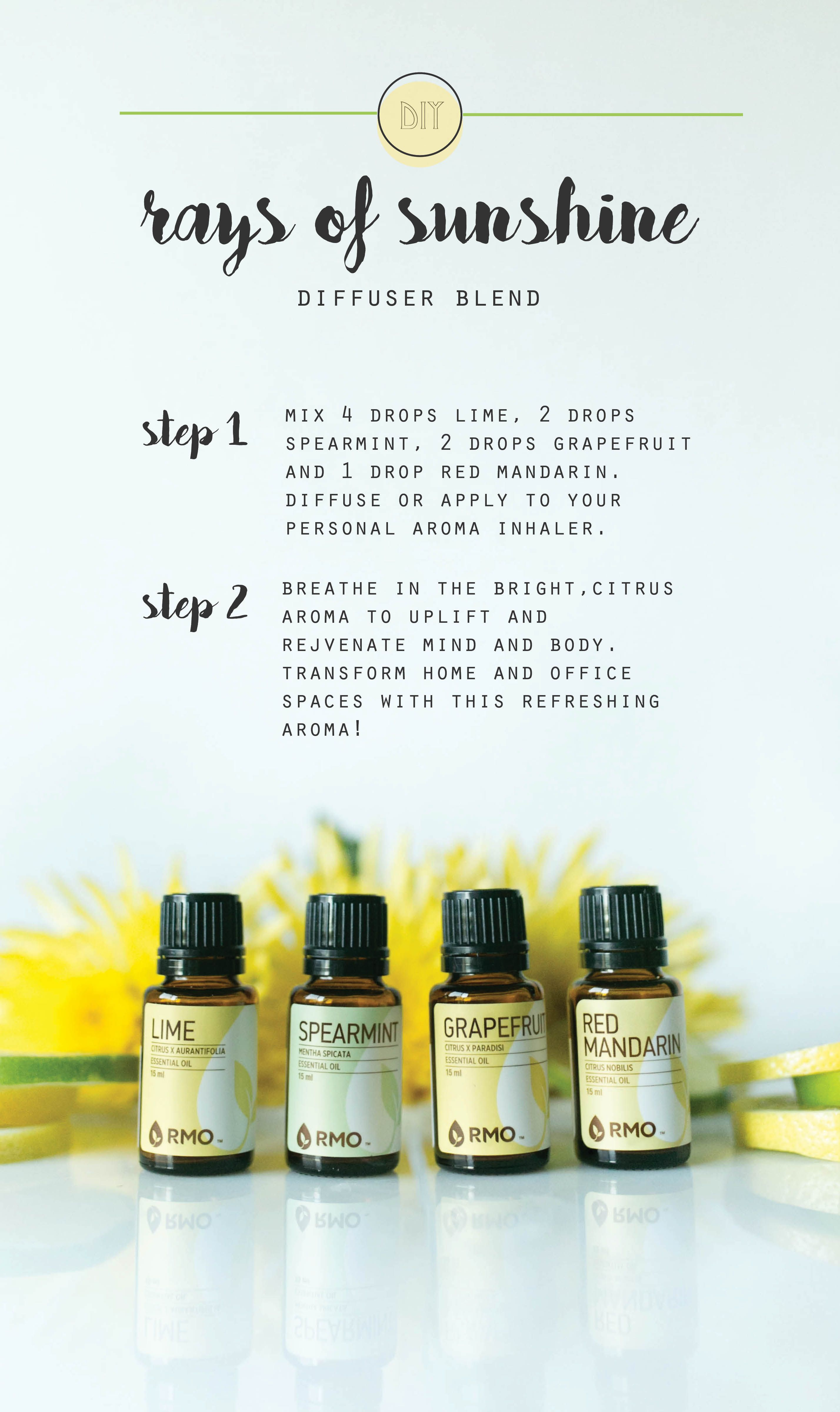 Rays Of Sunshine Diffuser Blend The Rmo Blog Essential Oil Blends Recipes Essential Oil Blends Diffuser Blends