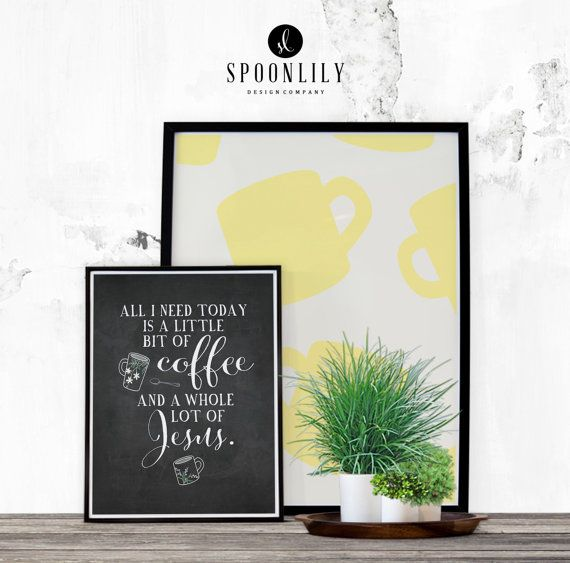 Coffee and Jesus Quote Bible Verse Wall Art Print by SpoonLily ...