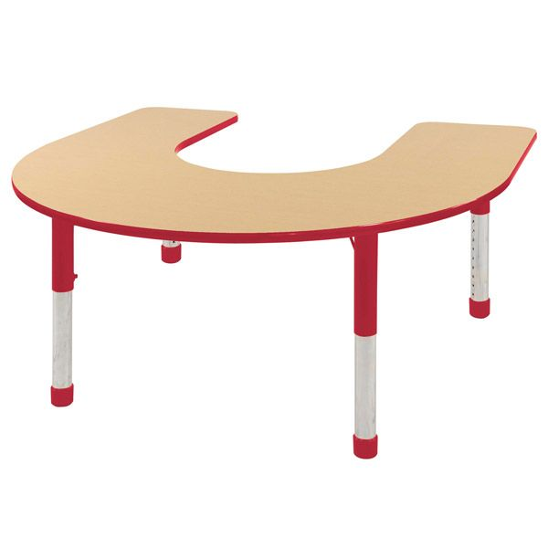 Chunky Leg Preschool Horseshoe Shaped Classroom Adjustable Height Activity  Tables Available In A Variety Of Colors