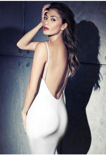 Missguided - Nicole X Low Back Strappy Midi Dress White