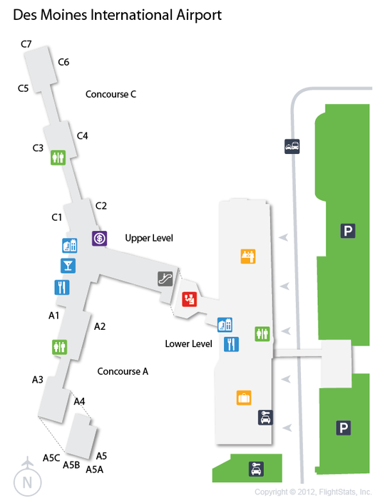 DSM Des Moines International Airport Terminal Map Airports - My flight to des moines