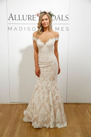 Lace Off The Shoulder Form Fitting Wedding Dress With Flare At Bottom