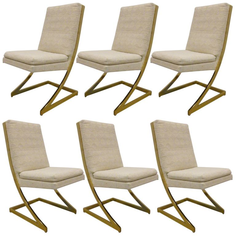 Set Of 6 Z Brass Dining Chairs By Milo Baughman