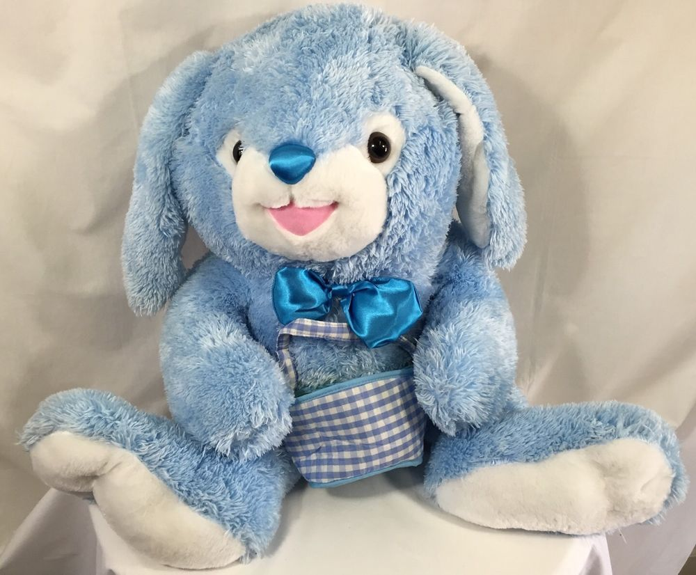 Plush easter bunny blue with gift basket stuffed animal rabbit large plush easter bunny blue with gift basket stuffed animal rabbit floppy soft negle Gallery