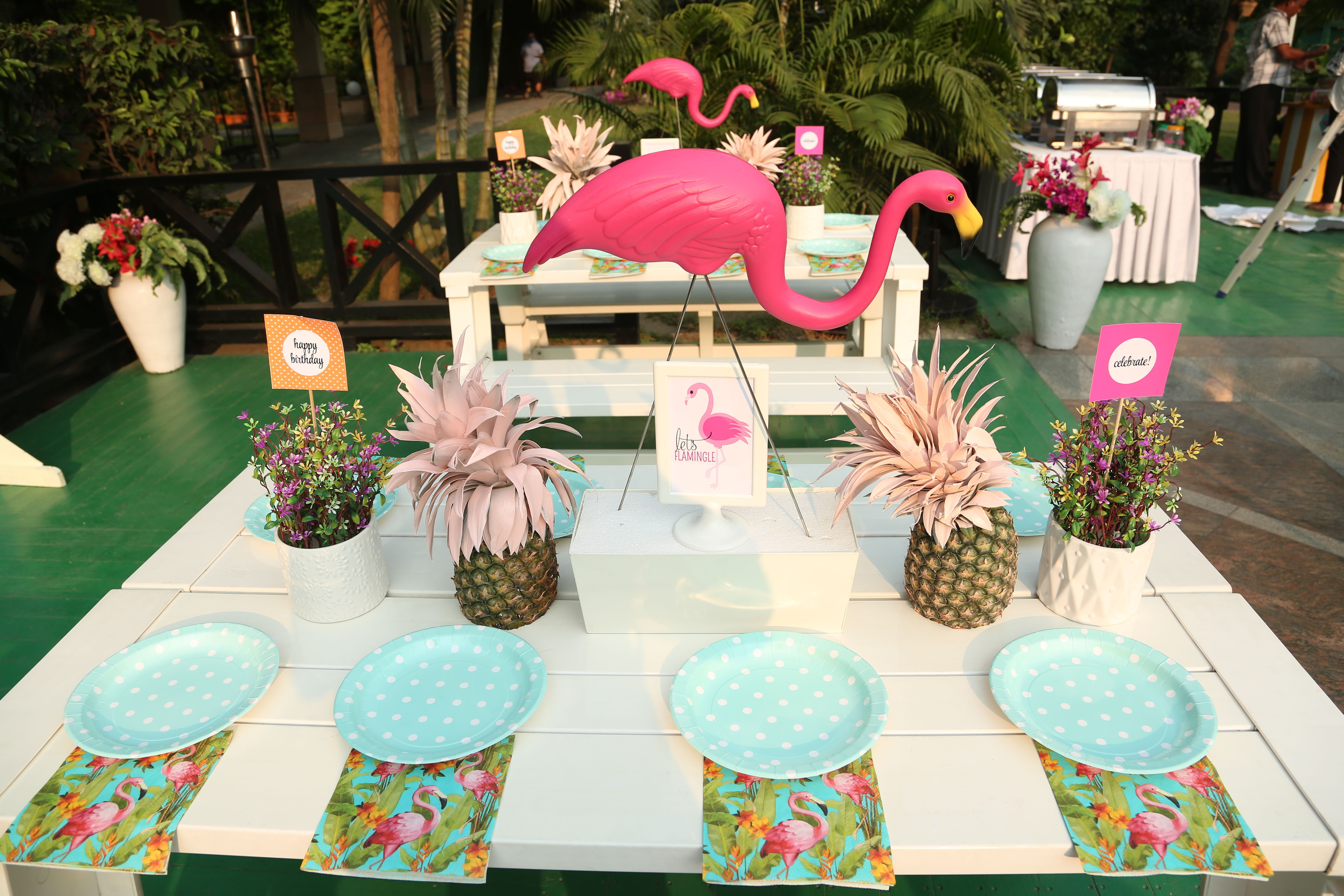 Tropical Flamingo birthday party table setup Birthday party