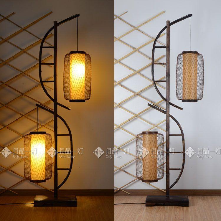 Japanese Lantern Craft | Double Bow] Double Lantern Japanese Bamboo Floor  Lamp Retro Southeast .