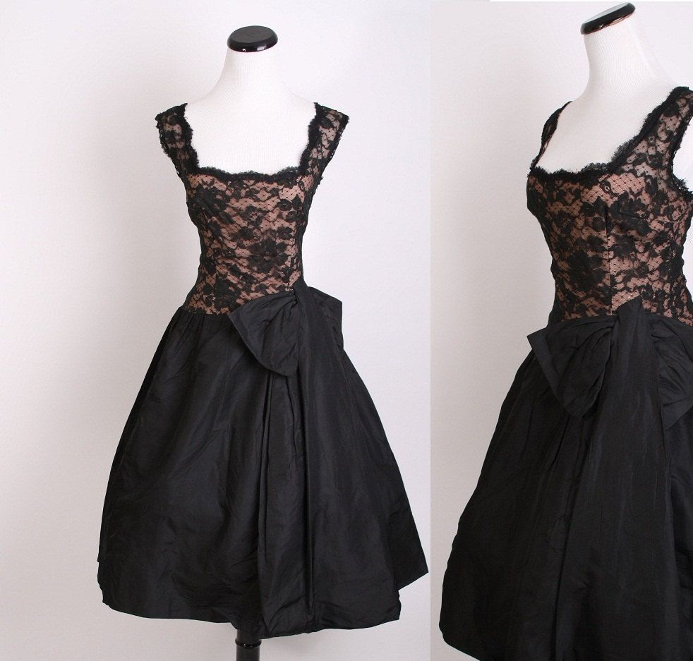 1940s Cocktail Dress / Cocktail Dress / Black Dress / Illusion ...