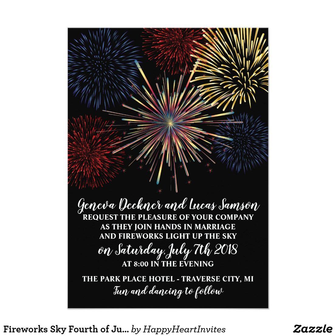 Fireworks Sky Fourth of July Wedding Invitation #fourthofjuly ...