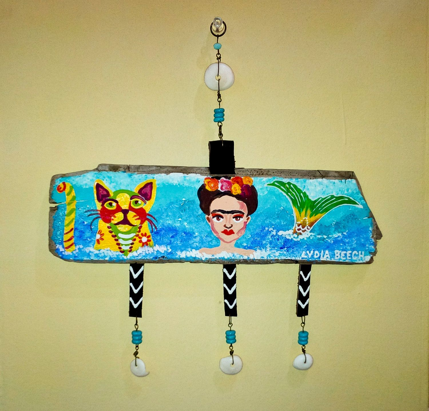 Frida Kahlo mermaid cat hand painted driftwood wall hanging decor ...