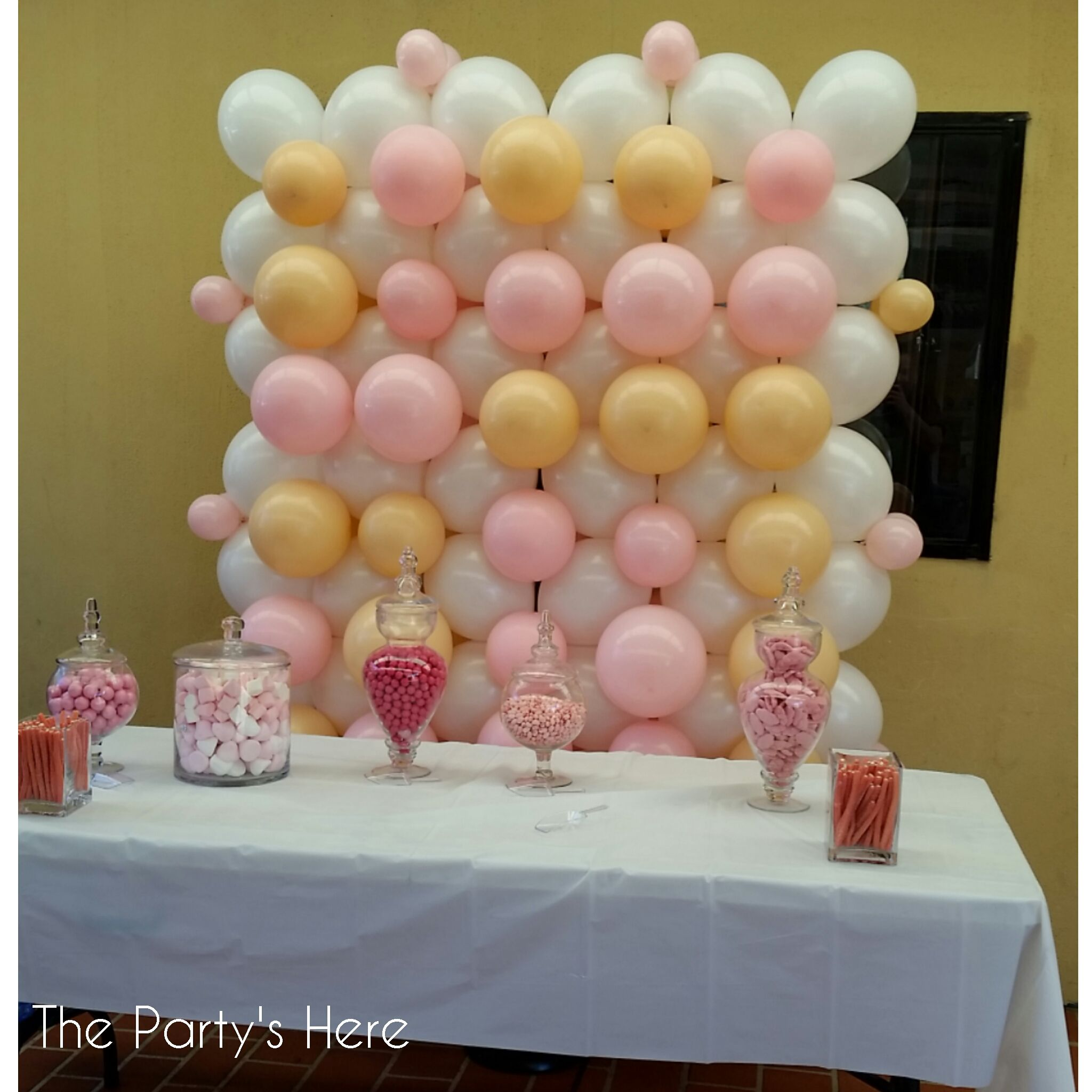 Small balloon wall for a very lucky birthday girl www for Balloon decoration on wall for birthday