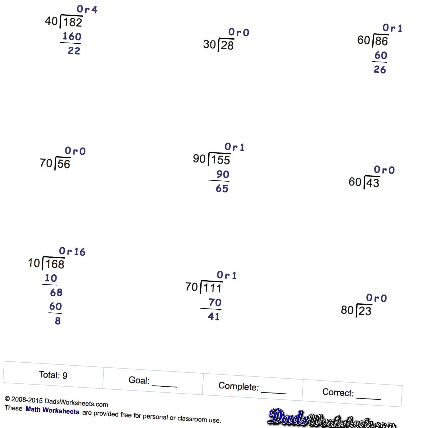 Math Worksheets Division By Factors Of Ten Math Worksheets Worksheets Free Printable Math Worksheets