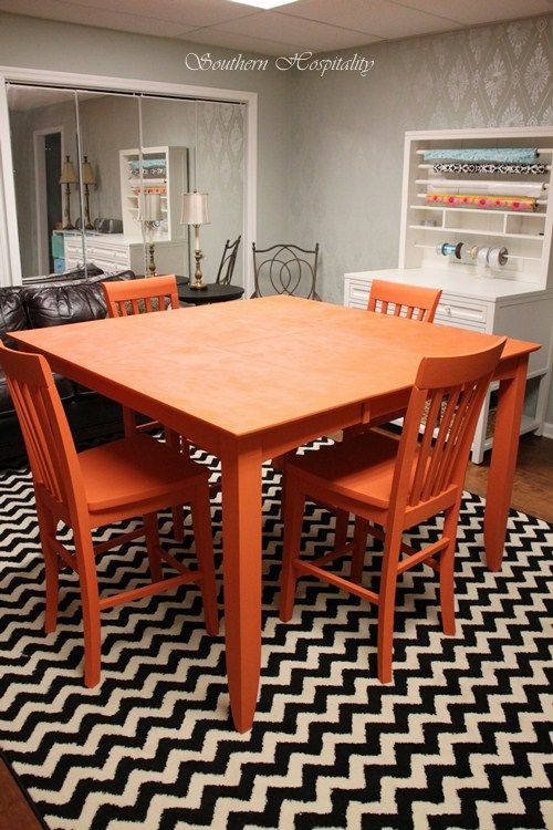 Love The Color Contrast Bright Painted Furniture Furniture Painted Kitchen Tables