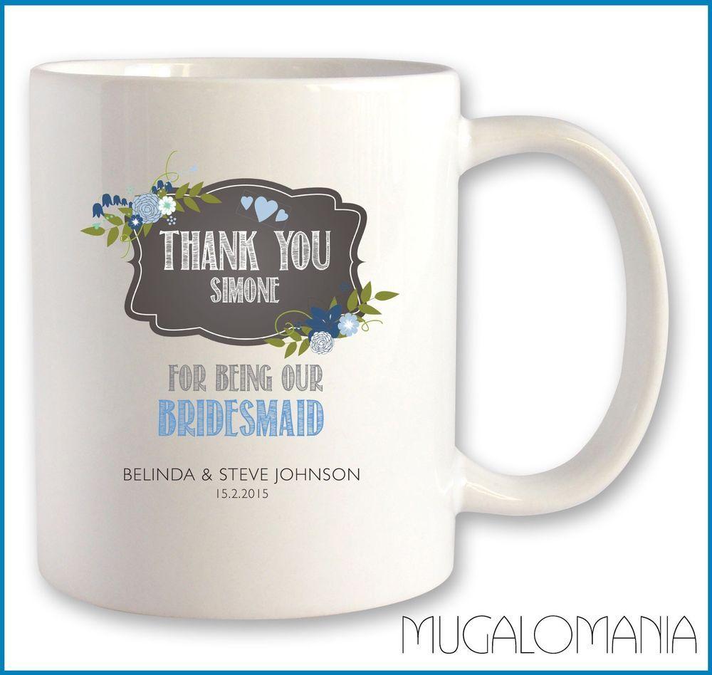 Personalised BRIDESMAID mug wedding thank you gift idea, chalk ...