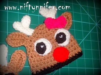 Niftynnifer's Free Newborn - 3 Months Raindeer's Beanie Crochet Pattern
