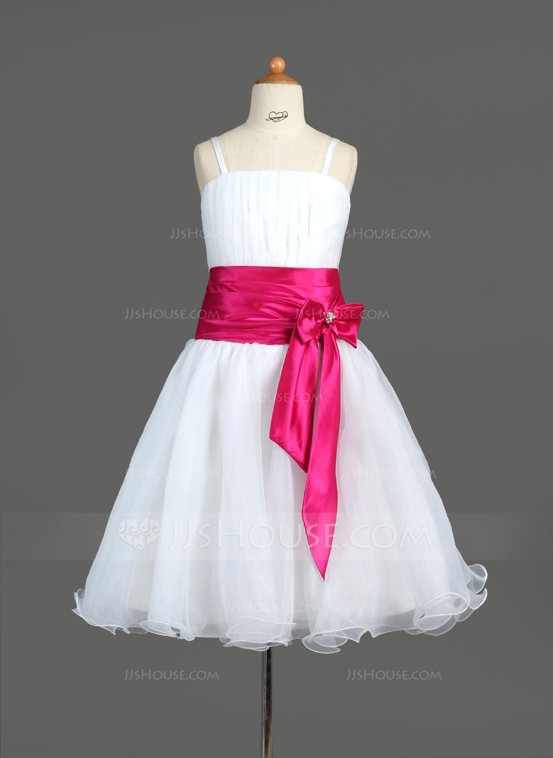 A-Line/Princess Knee-Length Ruffle Sash Beading Bow(s) Zipper Up Spaghetti Straps Sleeveless No White General Organza Flower Girl Dress