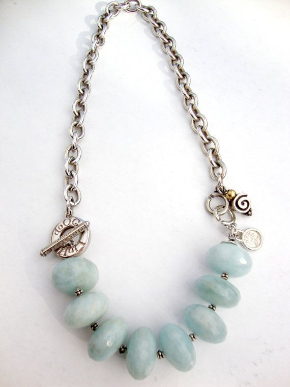 Large Aquamarine Necklace Tiffany style sterling by dooglelinhk, $511.00