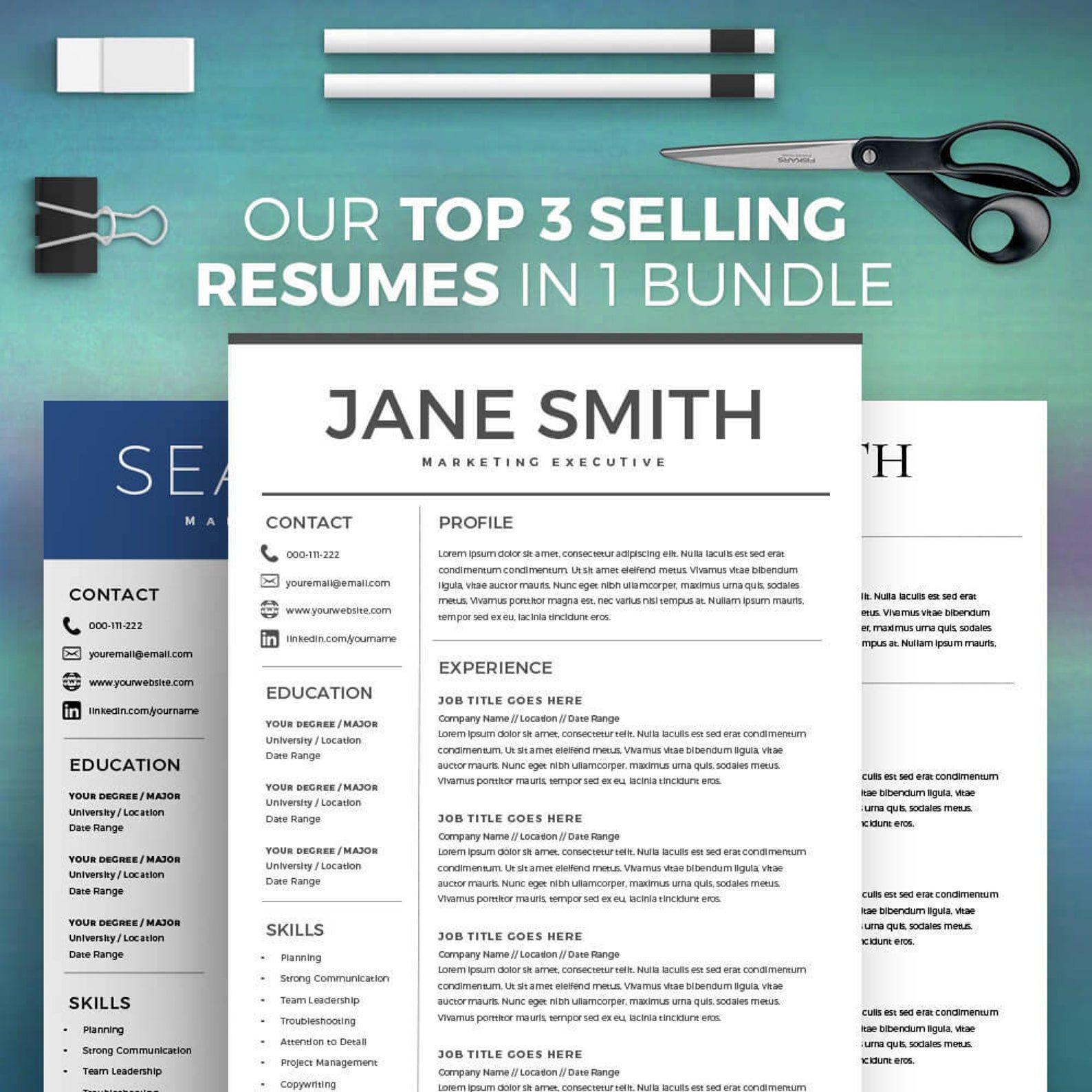 Resume Templates Bundle Of 3 Best Resume Templates Easy Resume Template Bundle With Cover Letter Minimalist Resume Instant Download Best Resume Template Resume Templates Simple Resume Template