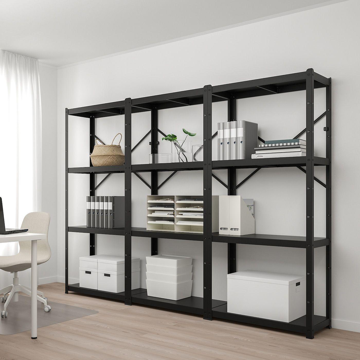Bror Shelving Unit Black 254x40x190 Cm In 2020 Shelving Unit Shelving Design Shelves