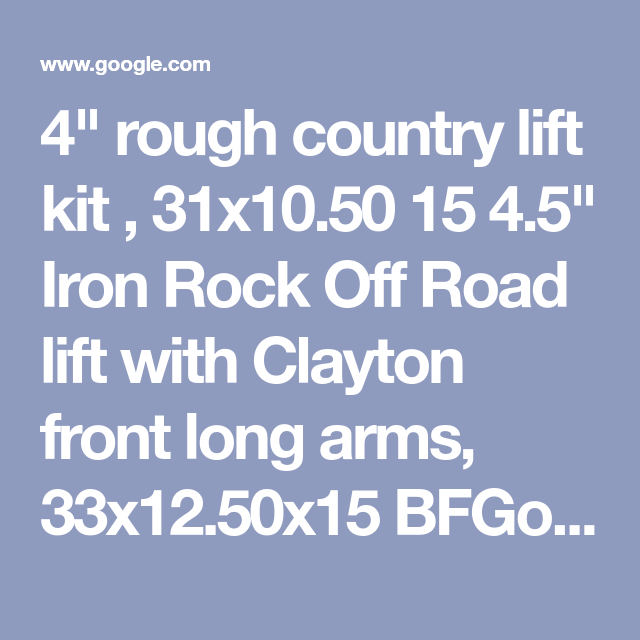 4 Rough Country Lift Kit 31x10 50 15 4 5 Iron Rock Off Road