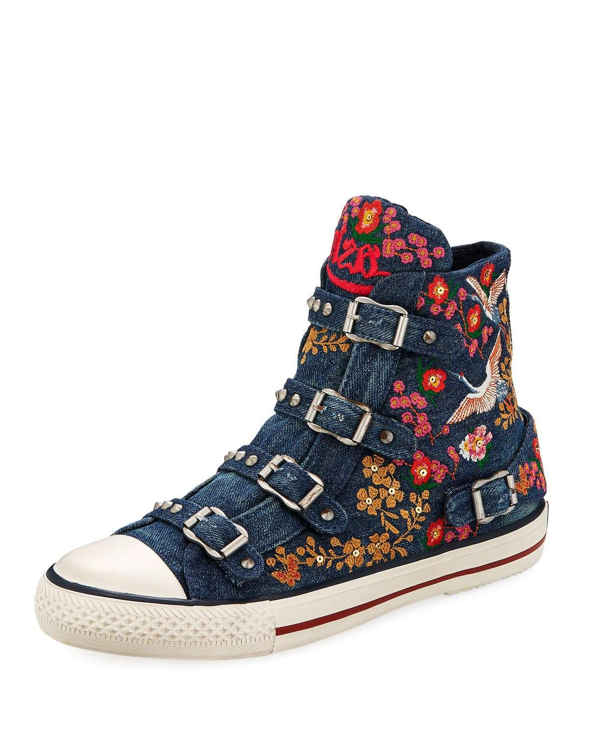 058c999b8118 Get free shipping on Ash Vivi Multi-Buckle Embroidered Denim High-Top Sneaker  at Neiman Marcus. Shop the latest luxury fashions from top designers.