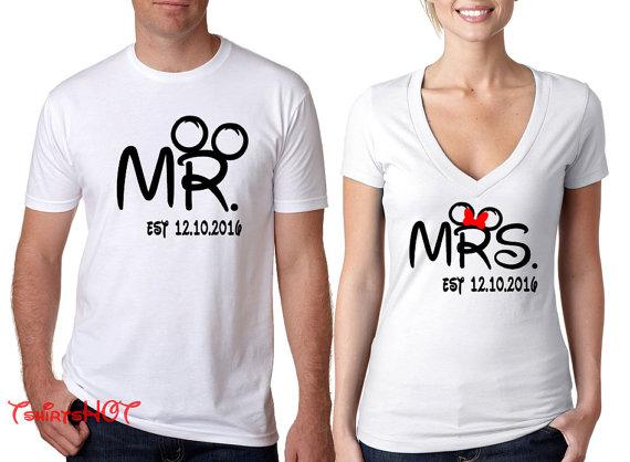 cd46fa31b6 Disney Couple Shirt with wedding date, Matching Disney Couples Shirt,  Disney Honeymoon Shirts So soft tee, so soft hand printing, fun bold unique  design, ...