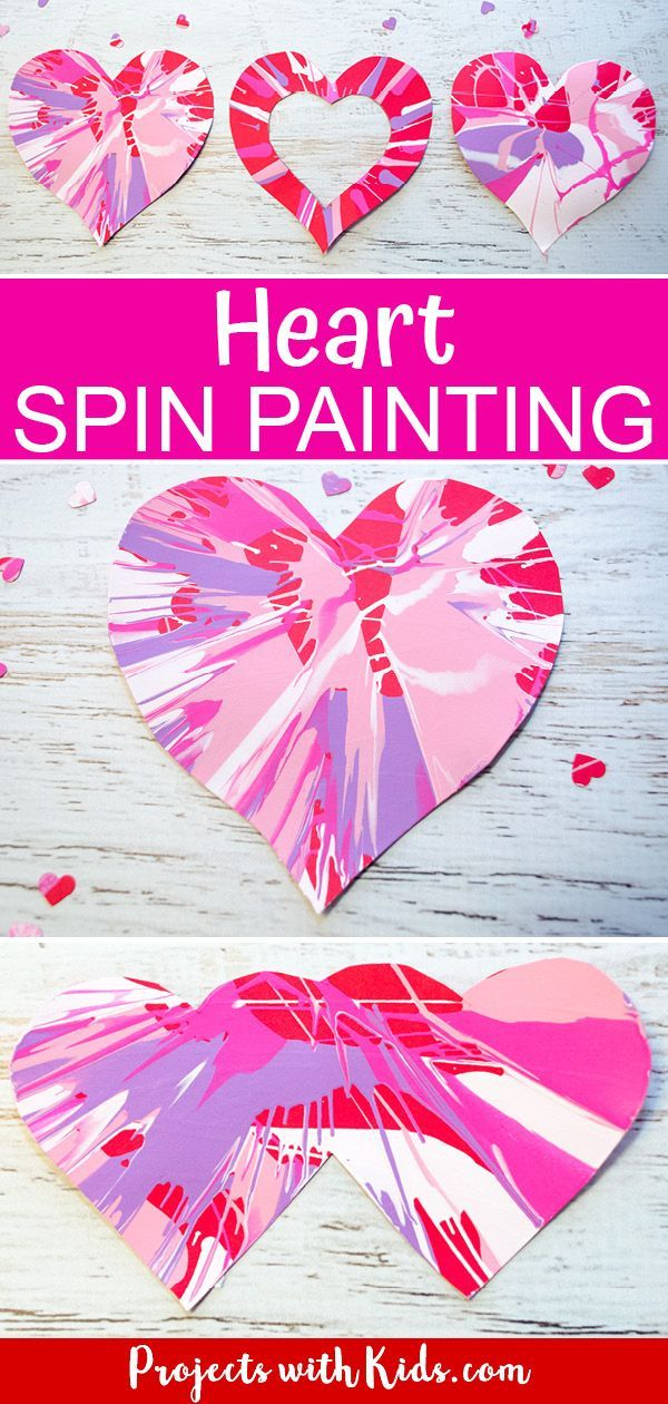 Heart Spin Painting Art Project for Kids