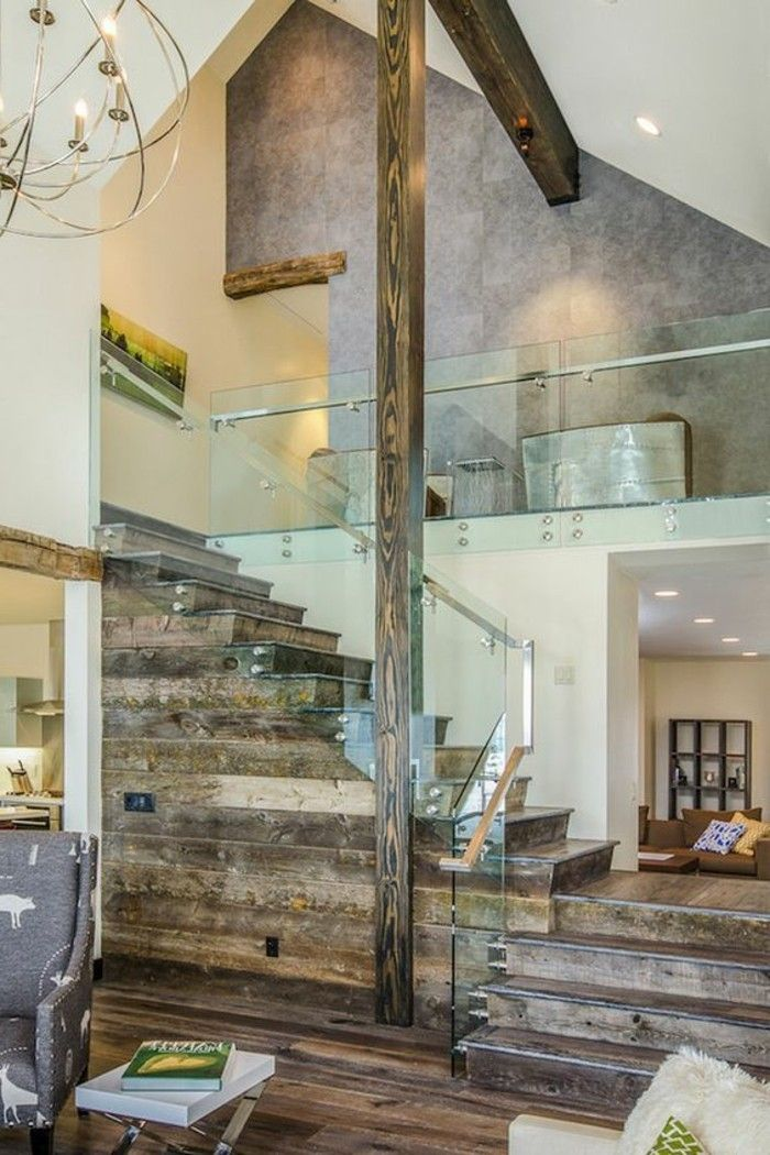 treppen glasgeländer und rustikal holz Gestaltung von Treppen - design treppe holz lebendig aussieht