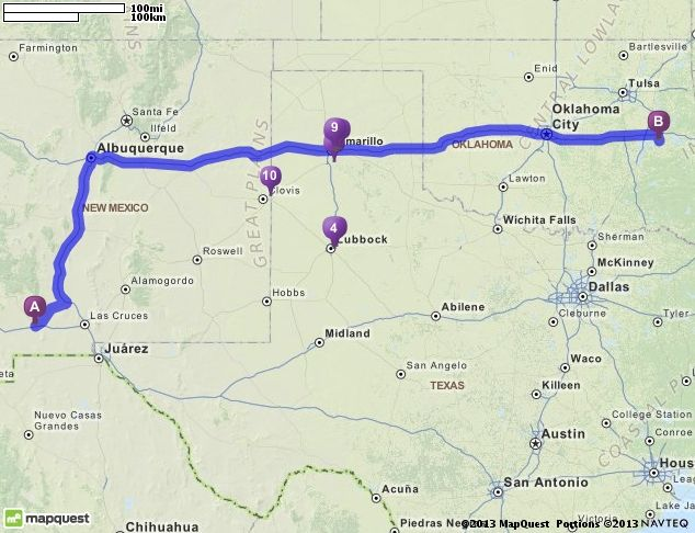 Driving Directions from Deming, New Mexico to Porum, Oklahoma ... on stonewall ok map, weatherford ok map, poteau ok map, braggs ok map, ada ok map,