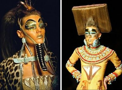 Egyptian - History of Fashion  Egyptian inspired head dresses and accessories like the necklace and exaggerated make-up.