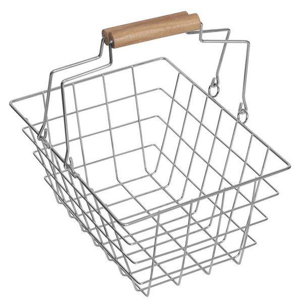 """Flot indkøbskurv i metal med træhåndtag til brug i rolleleg med legemad og købmandsvarer.Kurven er i miniature udgave som passer til mindre børn, og er et """"must"""