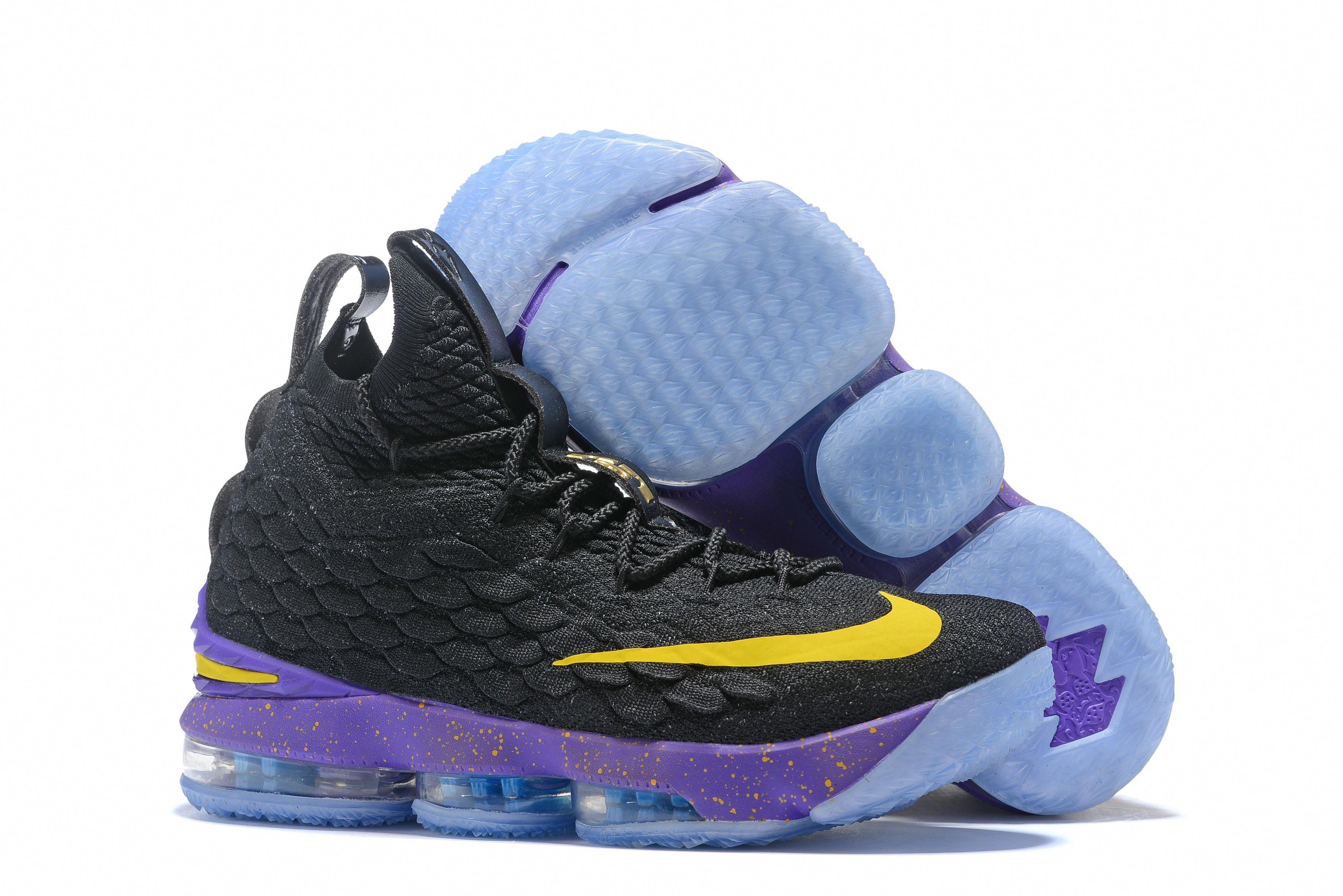 8fcdb275846 Nike LeBron 15 Black Purple-Yellow Men s Basketball Shoes  basketballshoes