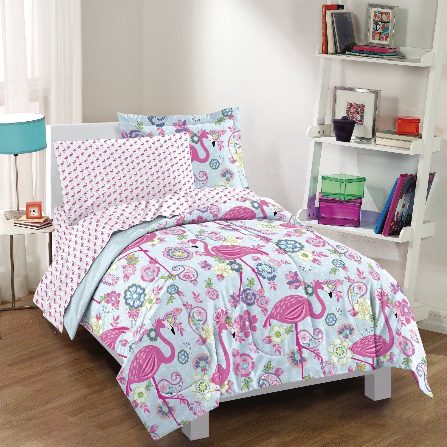 amazoncom dream factory flamingo comforter set pink twin home u0026