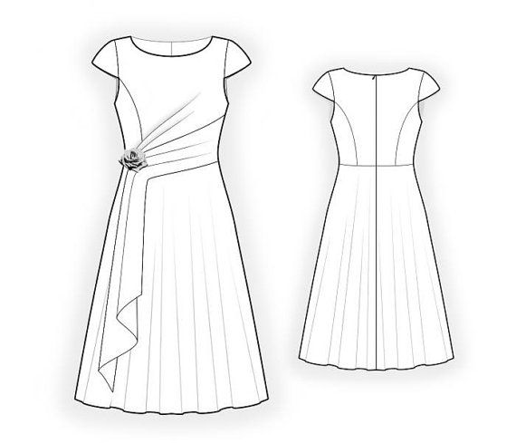 Lekala 4416 Dress S-M-L-XL or Made to Measure Sewing Pattern PDF ...