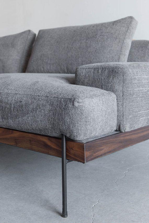Rivera sofa walnut and steel base down cushions en 2019 for Diseno de apartamentos industriales
