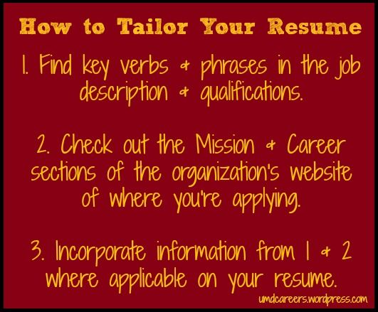 How to Tailor Your Resume Resume cover letters, Resume writing and