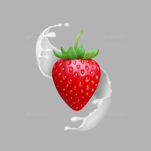 Milk Splash And Strawberry Realistic Vector Milk Splash Fruit Splash Cute Food Wallpaper