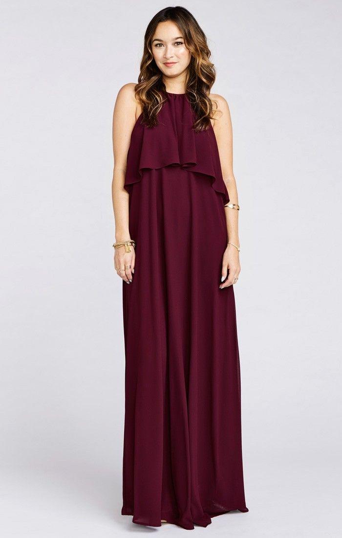Aimee Ruffle Maxi Dress ~ Merlot Chiffon   Dresses ...