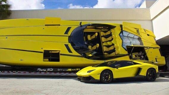 Lamborghini Aventador Lp700 4 And Aventaboat 2700 Hp Lamborghini Boat Super Cars
