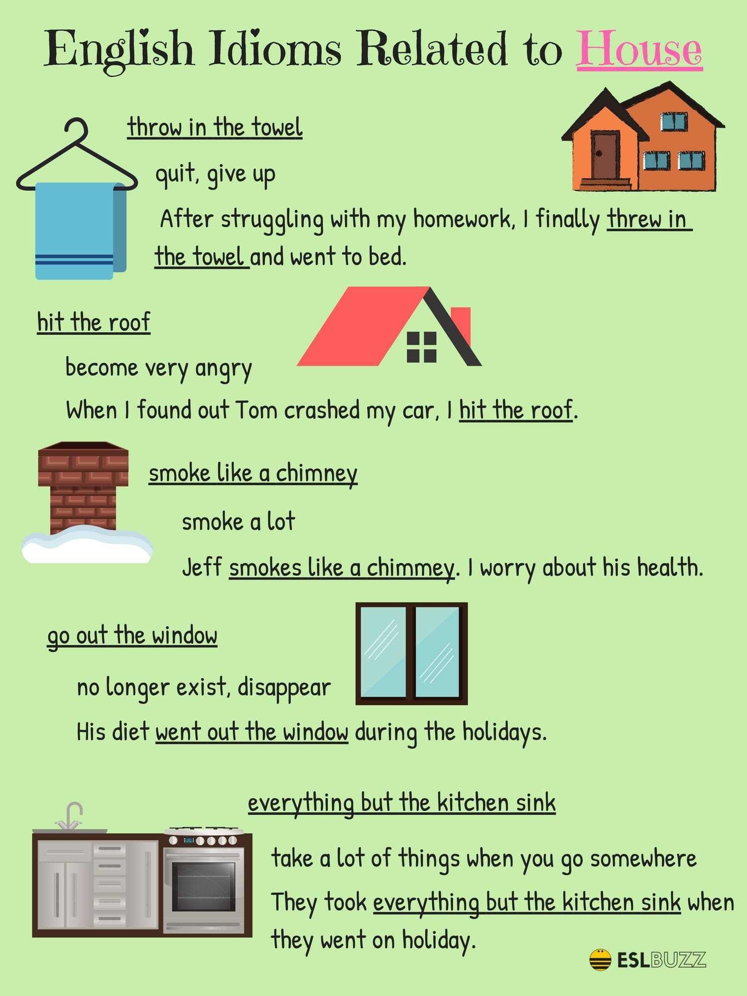 Common Idioms About The House And Home In English English Idioms