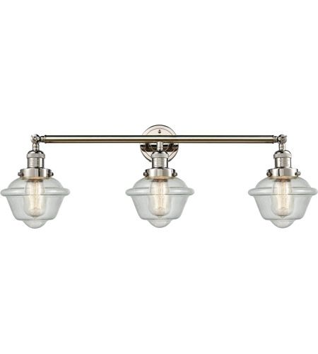 Photo of Innovations Lighting 205-PN-S-G534 Small Oxford 3 Light 34 inch Polished Nickel Bath Vanity Light Wall Light, Franklin Restoration