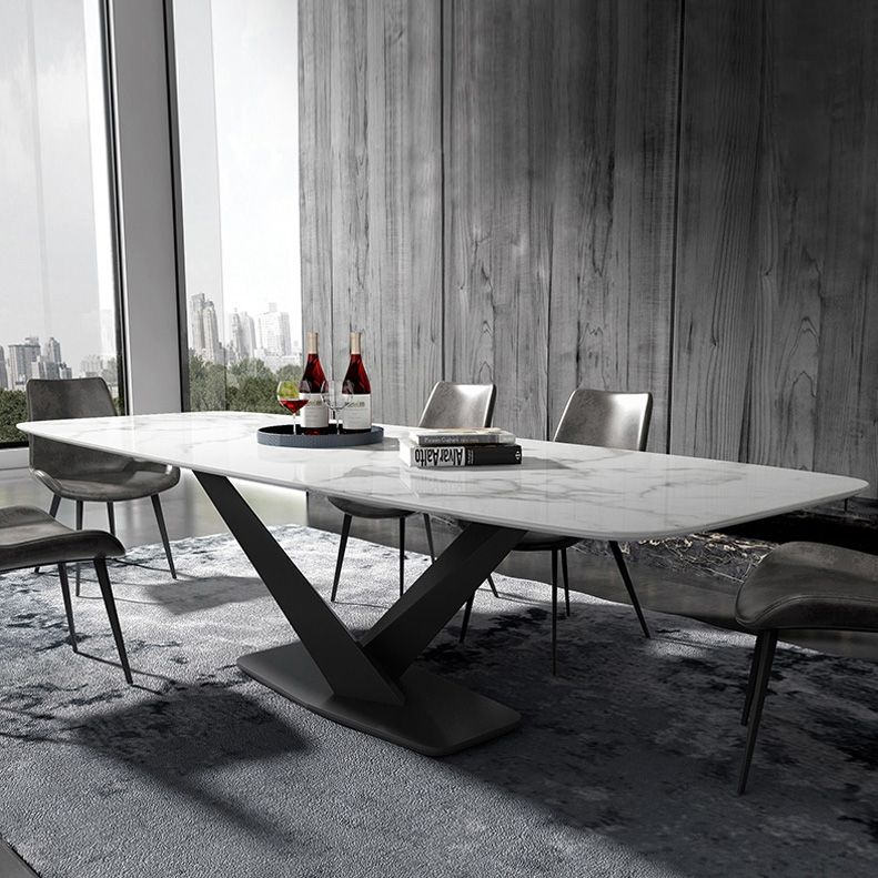 Modern Rectangular 63 In 2021 Dining Table Marble Faux Marble Dining Table Dining Table