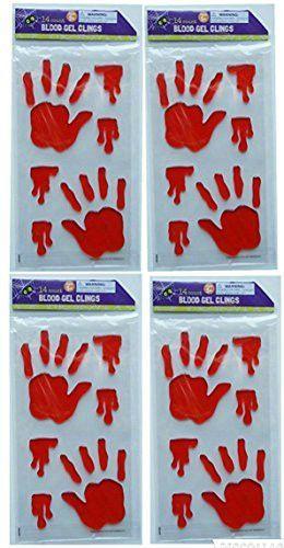 Halloween Spooky Blood Gel Window Clings Dia Muertos Sangre Ventana - halloween window clings